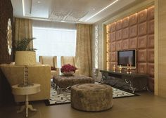 Contemporary Textured Wall Paneling With Dazzling LED Light And Sophisticated TV Lavish Sideboard Vintage Sofa Set Indoor Plant Faux Leather Walls, Leather Wall Panels, 3d Wall Panels, Ceiling Panels, Vintage Sideboard, Vintage Sofa, Accent Wall Designs, Custom Headboard, Decorative Panels