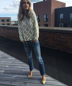 Pernille Teisbæk wearing Ganni Broadway Glitter blouse
