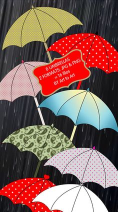 Eight colourful in two formats -JPG and PNG - Printable UMBRELLAS clip art Digital collage For by ArtToArt, $3.25