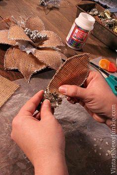 How to Make a Burlap Flower Christmas Ornament *Video Tutorial*