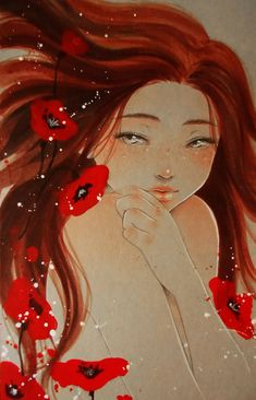 """Red"" by Maria Victoria Rivero #illustration #manga #art"