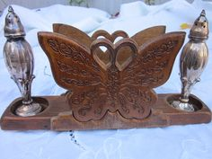 Vintage Wood Butterfly Napkin Holder With Cut Outs To Hold Your Salt And Pepper…