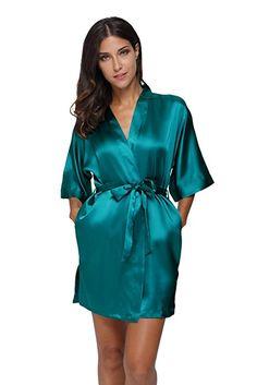 The Bund Women's Pure Colour Short Satin Kimono Robes with Oblique V-Neck Satin Dressing Gown, Short Kimono, Satin Lingerie, Color Shorts, Women's Shorts, Satin Blouses, Sleepwear Women, Satin Dresses, Silk Satin