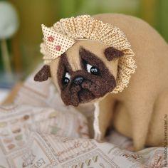 Купить В печали - коричневый, мопс, пьеро, грусть, печаль, мопсик, собака, собака игрушка