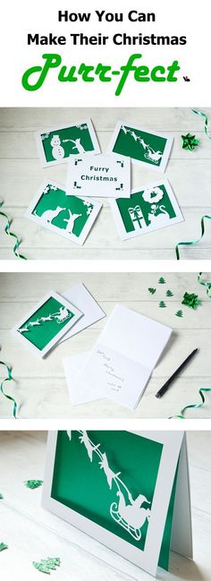 Complete anyone's Christmas with a set of paper cut pet Christmas cards! Different pets (cats, dogs, rabbits, & guinea pigs) available. Along with the choice of 4 gorgeous shimmery colours! Create a truly unique gift giving and receiving experience! Christmas Hat, Christmas Animals, Christmas Cards, Green And Gold, Red Green, Gifts For Pet Lovers, Guinea Pigs, Pet Portraits, Rabbits