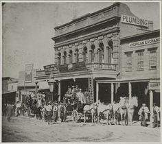 Today's picture shows a Stage Coach loaded up in front of the Wells Fargo Express company in Virginia City, Nevada. The picture was tak. Old West Town, Old Town, Us History, American History, History Pics, American Pie, Old Western Towns, Western Art, Western Film
