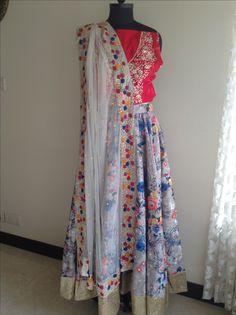 Colorful floral lehenga for Mehandi function