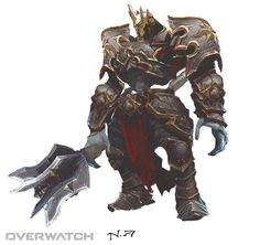 Overwatch Reinhardt skin inspired by leoric the skeleton king from diablo 3 Warrior Concept Art, Armor Concept, Game Concept, Character Concept, Character Art, Character Ideas, Dnd Characters, Fantasy Characters, Video Game Characters