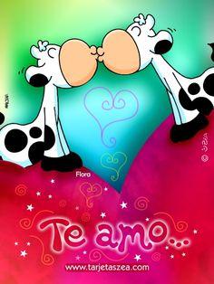 vaca Flora dando un beso posada en un corazón © ZEA www.tarjetaszea.com Birthday Cards, Happy Birthday, Romantic Words, Cute Messages, Paper Book, Cute Pictures, Love Quotes, Minnie Mouse, Marriage