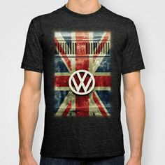 VW Retro Union Jack T-shirt by Alice Gosling - $22.00 Available in a wide variety of colors for men, women and children #tanks #tees #tshirt #clothing #VW #Volkswagen #Campervan #VWBus #Flag #UnionJack