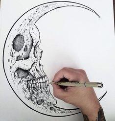 Новости skull zeichnungen, ideen fürs zeichnen и creepy zeichnungen. Art Drawings Sketches, Tattoo Drawings, Sick Drawings, Sketch Art, Tattoo Sketches, La Luna Tattoo, Tatoo Crane, Tattoo Mond, Aquarell Tattoos