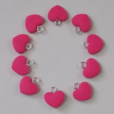 10 Hot Pink Heart Charms, Fimo, Jewellery Making, Beads, Handmade, Valentines