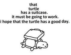 that turtle has a suitcase. it must be going to work. i hope that turtle has a good day.