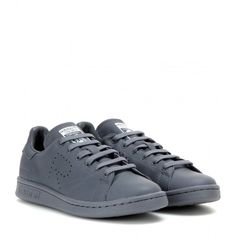 Adidas by Raf Simons Stan Smith Leather Sneakers ($205) ❤ liked on Polyvore featuring shoes, sneakers, adidas, grey, real leather shoes, gray shoes, grey sneakers, grey leather sneakers and leather shoes