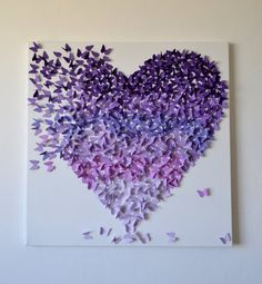 3D Purple Ombre Butterfly Heart / 3D Butterfly Art by RonandNoy