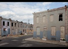 Abandoned Row Houses in Baltimore. The area was transformed into an art installation by local artist Ryan LeCluyse in summer 2011.