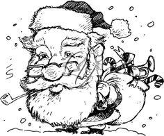 Royalty Free Clipart Image of Santa Smoking a Pipe
