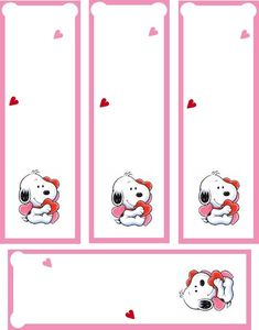Snoopy (Peanuts) FREE Valentine Bookmark Printable.  For more #Valentine Freebies, click here.