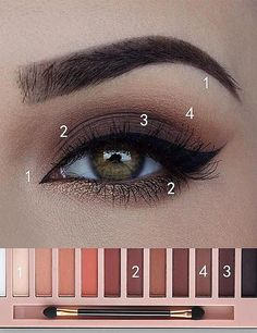 Make Up - Eye Makeup Tutorial; Eye makeup for brown eyes; Eye makeup, of course; Make up Daily Eye Makeup, Everyday Eye Makeup, Eye Makeup Steps, Eye Makeup For Hazel Eyes, Everyday Eyeshadow, Natural Eye Makeup Step By Step, Makeup For Hooded Eyes, Green Eyes Makeup, Green Eyes Pop