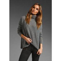 Velvet Cashmere Blend Fatima Turtleneck Sweater in Heather Grey