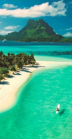 Beautiful Pearl Beach on Bora Bora in French Polynesia