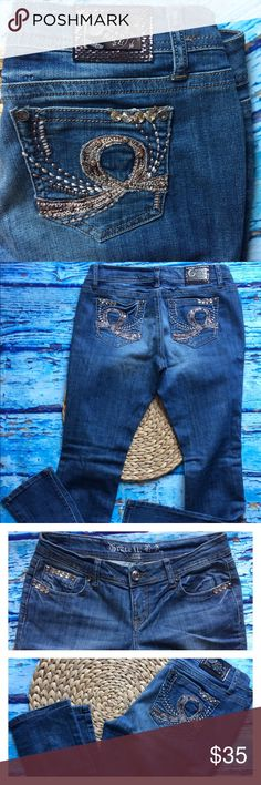 """Grace LA Distressed jeans Copper Bling Straight Very cool pair of jeans. Great condition with intentional distress. I love the copper metallic sequins peeking out under the leg tears. Straight leg, size 9/28. Approximate measurements are; 32"""" waist- flat measured, 32"""" inseam, 8"""" front rise. 97% cotton, 3% spandex. No trades. Grace in LA Jeans Straight Leg"""