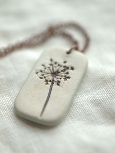 Earthy Porcelain Pendant with Queen Anne's Lace
