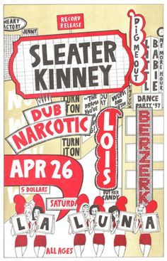 1997 Sleater-Kinney poster by Chanda Helzer