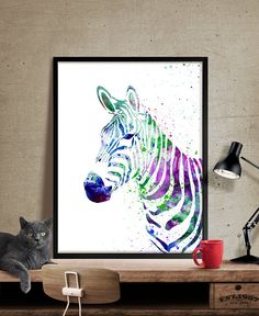 Zebra Watercolor Print Art Print Animal by FineArtCenter on Etsy