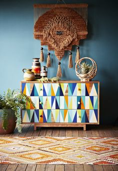 Hand painted bright triangles