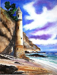 Light Tower watercolour for sale Lili Schuch