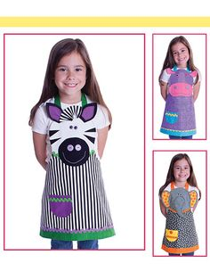 New Sewing Patterns - Safari Friends Child's Aprons Sewing Pattern Sewing Aprons, Sewing Clothes, Diy Clothes, Sewing For Kids, Baby Sewing, Diy For Kids, Sewing Hacks, Sewing Crafts, Sewing Projects