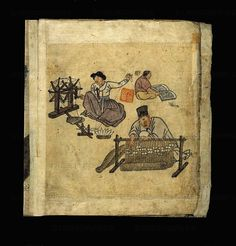 KOREA-CHOSON DYNASTY (1392-1910) PAINTING 19TH  Kim Hong-do  Spinning and weaving, from 'Album of Scenes from Daily Life', late Choson dynasty, 19th century. A woman spins the yarn, while a man in the foreground sits at a loom weaving.