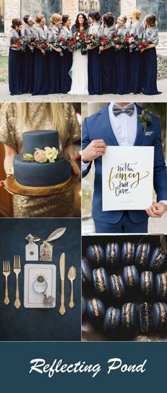 romantic reflecting pond blue wedding color ideas for fall