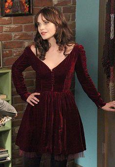 Zooey Deschanel's Burgundy velvet dress for Thanksgiving on New Girl.  Outfit Details: http://wwzdw.com/z/4727/ #WWZDW
