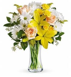 Spring flower bouquet with yellow lilies, white daisies and peach roses. A delightful flower bouquet to send to your mom or grandma. Get Well Flowers, Flowers For You, Order Flowers, Flowers Online, Birthday Flower Delivery, Happy Birthday Flower, Fresh Flower Delivery, Same Day Flower Delivery, Easter Flowers