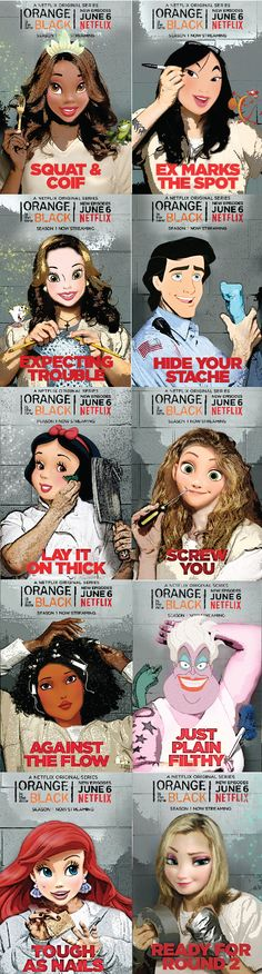 Disney Princesses Put Behind Bars in Orange Is the New Black Art - I thought Snow White was Morello!