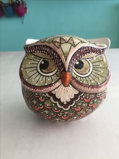 Ceramic Painting, Stone Painting, Whimsical Owl, Paper Mache Clay, How To Make Clay, Owl Pictures, Beautiful Owl, Ceramic Owl, Ceramic Figures