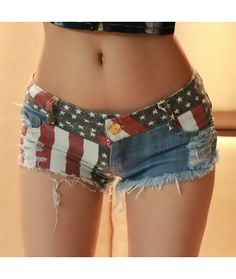 Shorts Jeans Destroyed bandeira USA