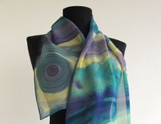Hand Painted Silk Scarf  Fantasy in Blue . Batik by AHouseAtelier, $45.00