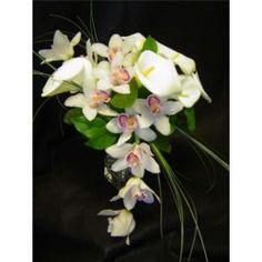 Ramo de novia de orchideas cymbidium y calas