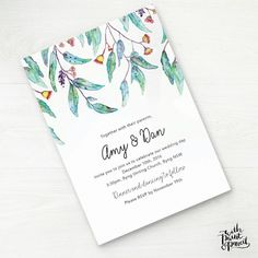 Australia australian native flower floral bottlebrush protea gum australian wedding invitation printable wedding invitation set green leaves wedding invitation rustic wedding country wedding stopboris Gallery