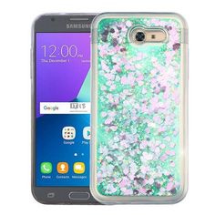Quicksand Glitter Samsung Galaxy J3 Emerge Case - Hearts/Green