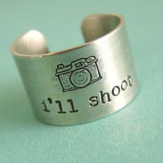 Photographer Ring - I'll shoot - camera ring in aluminum - wide band ring. $16.00, via Etsy.