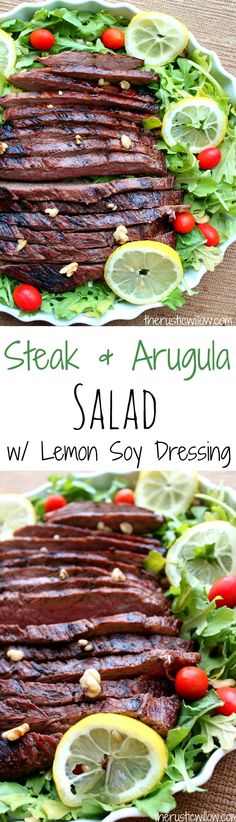Turn the lemon, soy & garlic marinade for the steak into a delicious dressing for this Lemon Arugula Steak Salad   therusticwillow.com