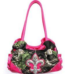 Western Pink Camouflage Fleur De Lis Rhinestone Purse - Handbags, Bling & More!