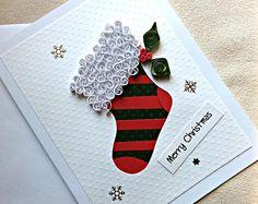 handgemachte Iris Falten und Papier Quilling Weihnachtskarte - Frohe Weihnachten Strumpf