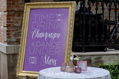 Time to drink champagne and dance under the stars! Cocktail hour signs are a favorite!   Decor by Southern Event Planners