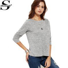 Long Sleeve Tshirt Women Winter Tops Casual Womens Long Sleeve Tops Grey Marled Knit Split Back T-shirt