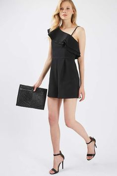 A chic all-in-one silhouette, this ruffle one-shoulder playsuit is perfect for going out. Wear it with a metallic high heeled sandal to complete the look.